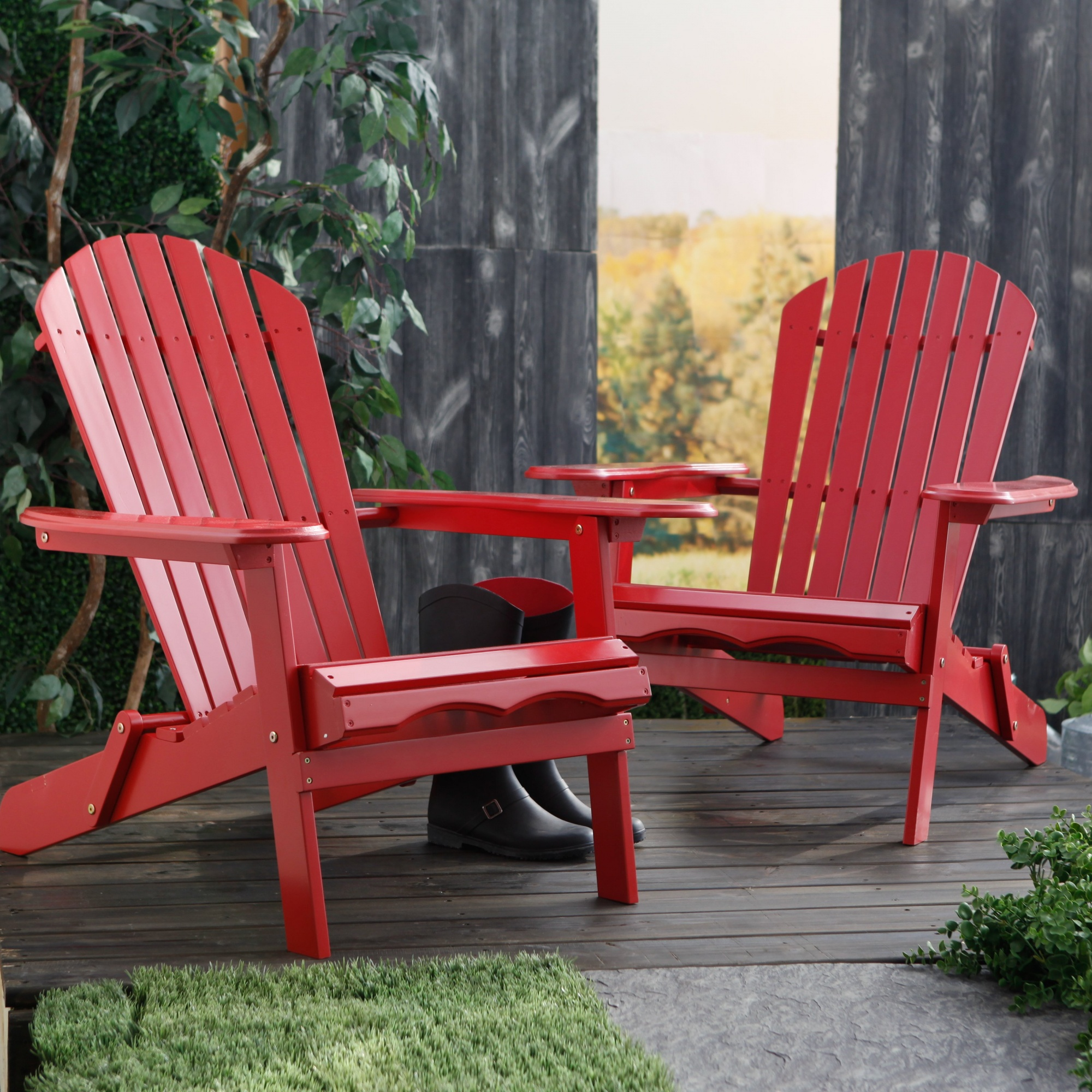 Super Set Of 2 Cape Cod Foldable Adirondack Chairs Red By Merry Interior Design Ideas Tzicisoteloinfo