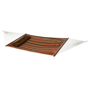 Bliss Hammocks BQH-483 Bliss Euro Quilted Hammock with Button Tuft Pillow - Dark Brown Taupe Grey White Stripe Pattern
