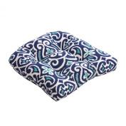 Pillow Perfect 475158 Damask Chair Cushion - Blue-White