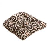 Pillow Perfect 475196 Damask Chair Cushion - Brown-Beige