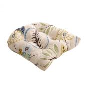Pillow Perfect 475233 Tropical Chair Cushion - Beige-Blue