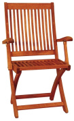 Achla OFC-02 Folding Chair in Natural Oiled with Arms