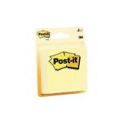 Post-it Post-it Note, Original Pad, 3''x3'', 50 Sheets per Pad, 4 per Pack, Yellow