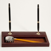 Bey-Berk D1118 Double Pen Stand with Pen - Tan Leather