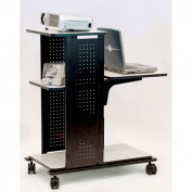 H. Wilson Company 4-Shelf Presentation Station with Cabinet in Black / Grey