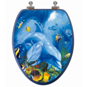 Topseat 3D Ocean Series Elongated Dolphin Mother and Calf Toilet Seat