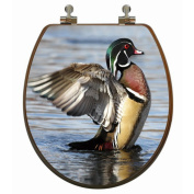 Topseat 3D Upland Series Round Wood Duck Toilet Seat with CP hinges