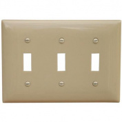 Morris Products 3 Gang Lexan Wall Plates for Toggle Switch in Ivory