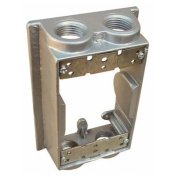 Weatherproof One Gang Flanged Box Extension Adapter - 4 Outlet Holes 1.3cm . Grey