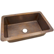 The Copper Factory 9.8m x 0m x 9.8m x 0m Solid Hand Hammered Large Single Bowl Drop-In /Undermount Kitchen Sink