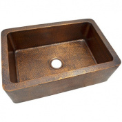 The Copper Factory 9.8m x 0m x 9.8m x 0m Solid Hand Hammered Large Single Bowl Farmhouse Kitchen Sink