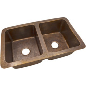 The Copper Factory 10m x 0m x 10m x 0m Solid Hand Hammered Large Double Bowl Drop-In /Undermount Kitchen Sink
