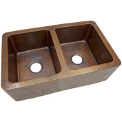 The Copper Factory 10m x 0m x 10m x 0m Solid Hand Hammered Large Double Bowl Farmhouse Kitchen Sink