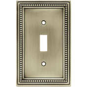 Brainerd Beaded Single Switch Wall Plate, Brushed Satin Pewter