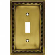 Brainerd Beaded Single-Switch Wall Plate, Tumbled Antique Brass