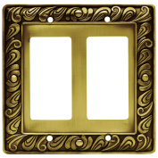 Franklin Brass Paisley Double Decorator Wall Plate in Tumbled Antique Brass