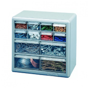Stack-On 12-Drawer Storage Cabinet, Silver Grey