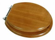 Exquisite Round Wood Seat With Chrome Hinges, Oak