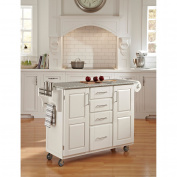 Home Styles Large Kitchen Cart, White / Salt & Pepper Granite Top