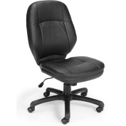 OFM 521-LX-T Stimulus Series Leatherette Executive Chair, Armless Leather Office Chair, 110cm Height, 70cm Wide, 70cm Length, Black
