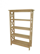 International Concepts 4-Tier X-Sided Shelf Unit, Unfinished