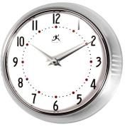 Infinity Instruments-Silver Round Metal Retro Wall Clock