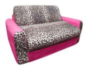 Fun Furnishings Pink Leopard Sofa Sleeper with Pillows