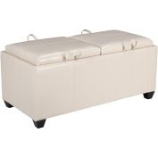 Office Star Products Designs Metro Storage Ottoman with Dual Trays and Seat Cushions, Cream, Faux Leather