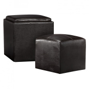 Convenience Concepts 143010 Park Avenue Single Ottoman with Stool & Serving Tray in Espresso