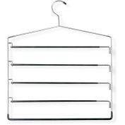 Honey-Can-Do HNGT01202 Five-Tier Swinging Arm Pant Rack Chrome-Black 2 Pack