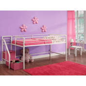 DHP Junior Twin Loft Bed with Storage Steps, Pink and White