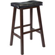 WinsomeTrading 94069 60cm Cushion Saddle Seat Stool, Black, Faux Leather, RTA - Antique Walnut
