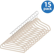Whitmor Flocked Spacemaker Suit Hangers, Beige, Set of 15