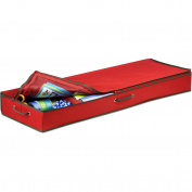 Honey-Can-Do SFT-01598 Wrapping Paper and Bow Storage Organiser, Holiday Red