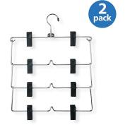 Honey-Can-Do Clothing Hangers Four-Tier Fold Up Skirt Hanger (2-Pack) chrome/black HNGT01188