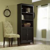 Sauder Edge Water 3-Shelf Library Bookcase with Doors, Estate Black