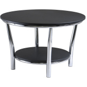 Winsome 93230 Maya Round Coffee Table Black Top Metal Legs