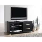 MANILA Black TV Stand with 2 Drawers, for TVs up to 94cm