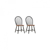 Boraam 31516 Set Of 2 Farmhouse Dining Chairs - Black And Cherry Finish