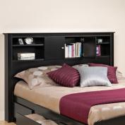Kallisto Full/Queen Bookcase Headboard with Doors, Black