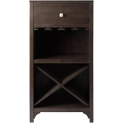 Winsome Trading 92745 Ancona Modular Wine Cabinet with One Drawer, Glass Rack, X Shelf