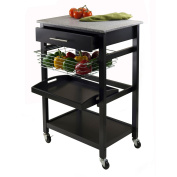 Winsome Wood Julia Kitchen Cart with Granite Top, Black
