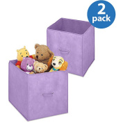 Whitmor Set of 2 Collapsible 36cm Storage Cubes, Purple