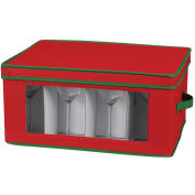 Household Essentials Holiday Stemware Storage Chest for Goblet Styled Glasses, Red with Green Trim