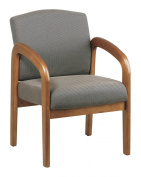 Office Star Products Wooden Guest and Reception Chair with Arms, Medium Oak and Taupe