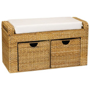 Household Essentials Banana Leaf Storage Bench with Cusion and 2 Drawers