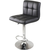 WinsomeTrading 93150 Stockholm Air Lift Stool Swivel Square Grid Faux Leather Seat Black - Black - Metal