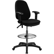 Ergonomic Multi-Function Triple Paddle Drafting Stool with Arms and Adjustable Foot Ring, Black