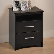 Coal Harbour 2 Drawer Tall Nightstand with Open Shelf - Black