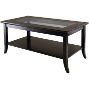 Winsome Trading 92437 Genoa Rectanuglar Coffee Table with Glass top and Shelf